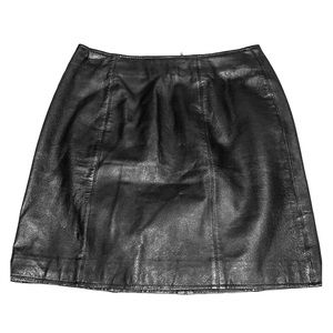 VTG Amanda Smith 100% Leather Mini Skirt Black 10